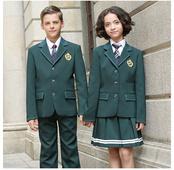 春秋长袖学生墨绿色西装校服套装定做
