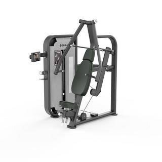 舒华68智能系列 SH-G6801T(触摸屏)智能系列坐式胸肌推举训练器 SH-G6801T      产品尺寸 :1540×1435×1820(长*宽*高) 整机颜色:主架:黑色银砂纹 护罩:闪银黑灰砂纹   主要训练功能:胸大肌、三角肌前束、三头肌